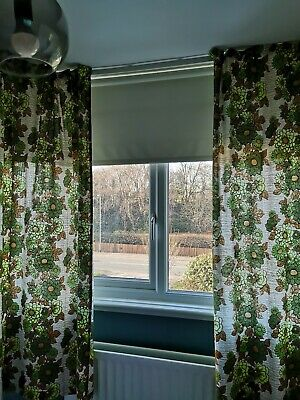 "Beautiful Vintage 60s 70s Brown Green Floral Curtains Retro Mid Century 64"" 71"""