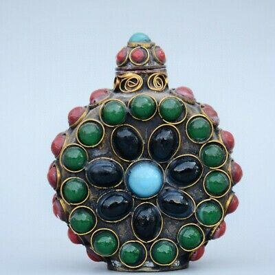 Collect China Old Bronze Armour Agate Hand-Carved Delicate Valuable Snuff Bottle