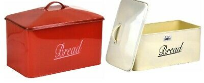 LARGE Metal Bread Bin Kitchen Vintage Retro Style Storage Canister Box With Lid