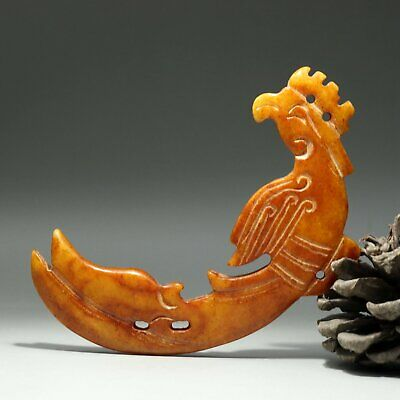 Collectable China Old Jade Hand-Carved Myth Phoenix Delicate Noble Decor Pendant