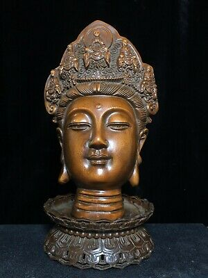 Collectable China Old Boxwood Hand-Carved Buddhism Kwan-Yin Bring Luck Statue