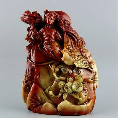Collect Old Shoushan Stone Hand-Carved Fairy & Phenix Delicate Decorate Statue