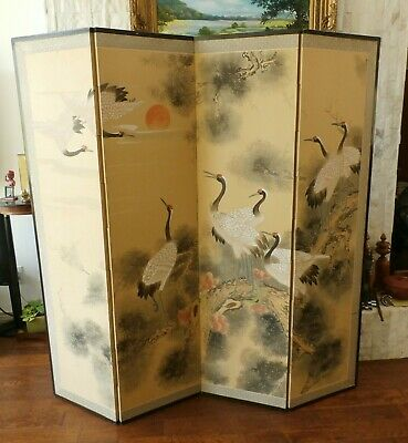 Antique Signed 4 Panel Hand Painted Chinese Folding Silk Screen Room Divider