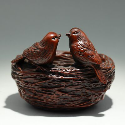 Collectable China Old Boxwood Hand-Carved Bird Nest Delicate Interesting Statue