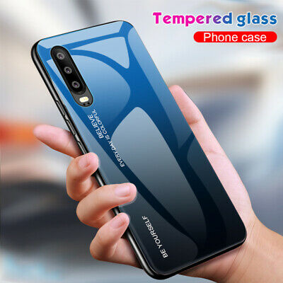 Case For Huawei P30 P20 Pro Lite Gradient Tempered Glass Shockproof Glossy Cover