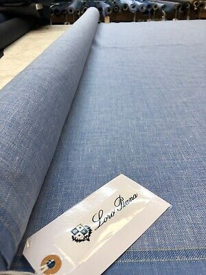 LORO PIANA CASHMERE SILK And Linen SUITING Fabric BLUE Hopsack. 2.5 Yards