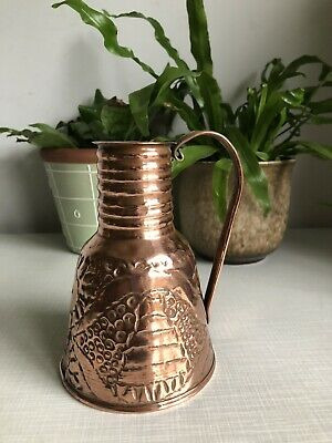 vintage copper Arts & Crafts Watering can jug Vase embossd beehive flowers Props