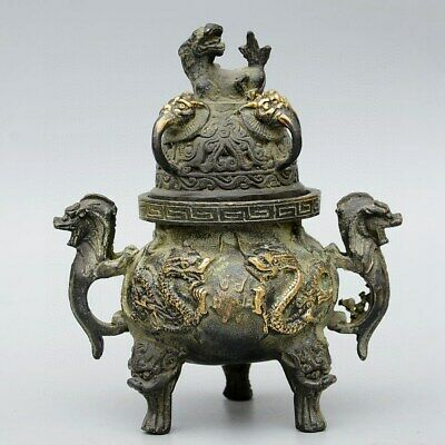 Collectable China Old Bronze & Gilding Hand-Carve Myth Dragon & Lion Luck Censer
