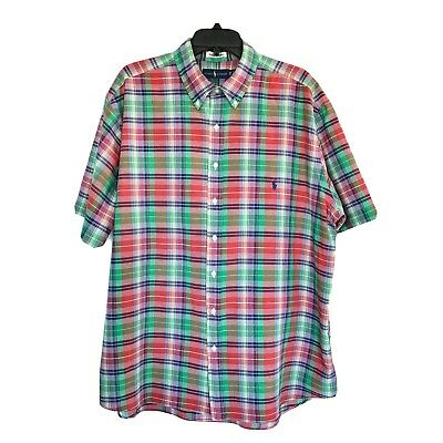 1XB Ralph Lauren Indian Madras Red Green Plaid Button Down Mens Shirt EUC