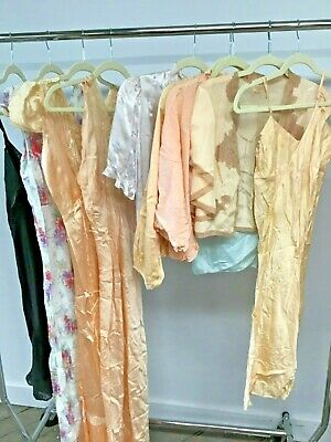 VTG 1930's 40's Lot of 10 Pieces Negligees, Slips, Bed Jackets  Silk Rayon Satin