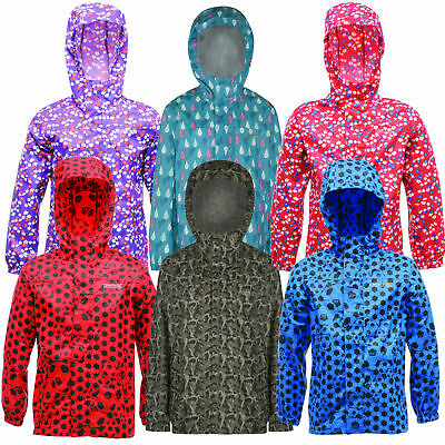 Regatta Printed Kids Pack-It Jacket Waterproof Packaway Coat Girls Boys