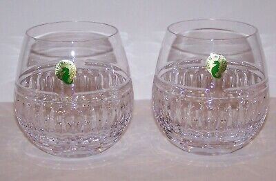 "Stunning Pair Of Signed Waterford Crystal 4 1/4"" Stemless Red Wine Glasses"