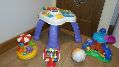 Toddler Toy Bundle VTech Activity Table Carousel Rainmaker Ball  Stick Down MORE