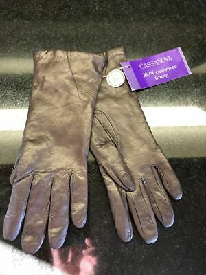 Cassanova Womens' Brown Soft Leather Gloves with Cashmere Lining-Size 7 1/2
