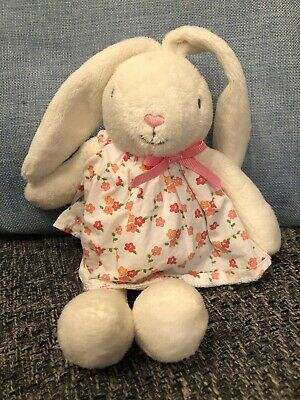 M&s Marks and Spencers White Bunny Comforter Pink Bow Floral Dress Soft Toy