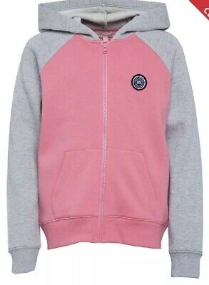 Board Angels Girls Raglan Sleeve Zip Hoodie Grey Marl/Pink Size 9-10yrs #26