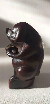 Rare Antique Chinese Carved Bovine Bone Horn Pig Carrying Bowl Quality Carving