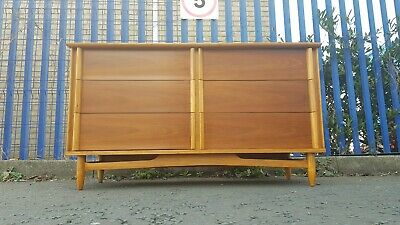 Walnut And Beech Sideboard Chest of Drawers Retro Vintage Mid Century Danish...