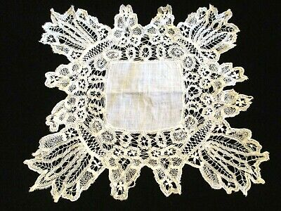 MOST FABULOUS 1900s Antique HANDMADE Tape LACE & Fine LINEN Wedding HANKY