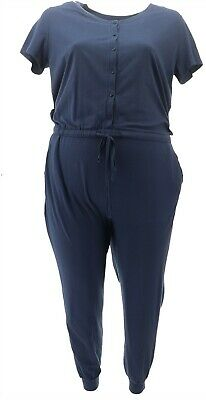AnyBody Petite Cozy Knit Button Front Jumpsuit Navy PXS NEW A367679