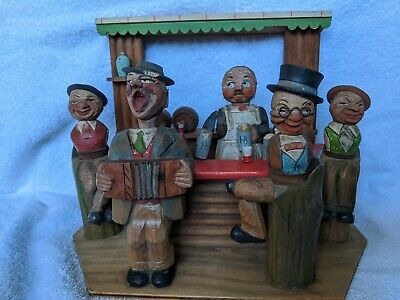 Vintage Anri Carved Wood Bar Set Musical Box Italy