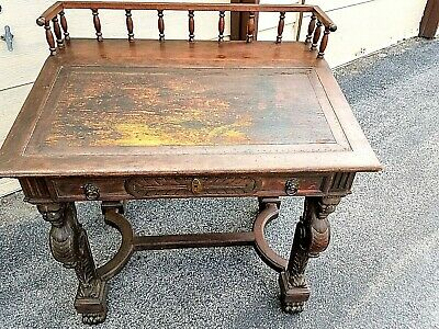 Antique Library Table Desk - Hand Carved Oak 19th Century - Compact Fit