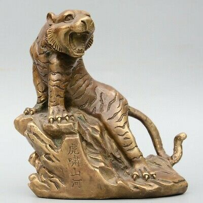 Collect China Old Bronze Hand-Carved Fierce Tiger Delicate Unique Decor Statue