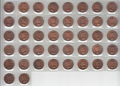 42 Canadian 1959 Small Cents Bu Red Uncirculated Condition.