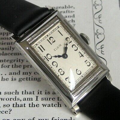 Mens Original 1933 Elgin Art Deco MACHINE AGE Vintage 10K RGP USA Tank Watch  A+