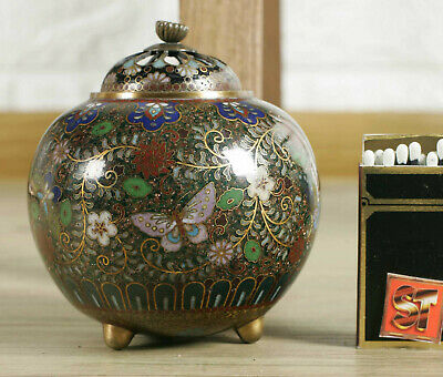 Cloisonné Can Older Blumenmuster Butterfly Asiaktika China Cloisonne Box 景泰藍