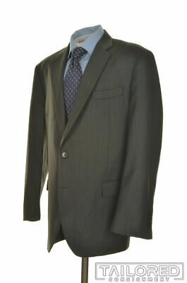 BROOKS BROTHERS Madison Gray Herringbone 100% Wool Jacket Pants SUIT Mens - 46 R
