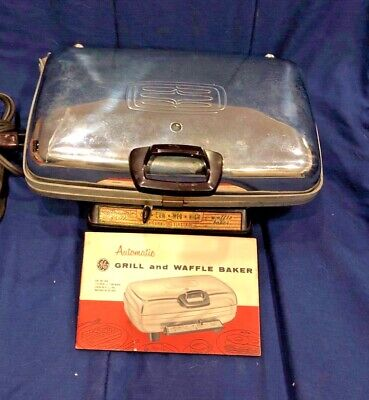 Vintage General Electric Automatic Grill Waffle Baker Ge # 14G42 + Instructions