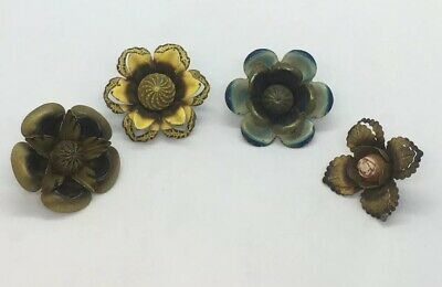 Lot Of 4 Victorian Different Metal Drapery Miniature Tie Backs Floral Push Pins