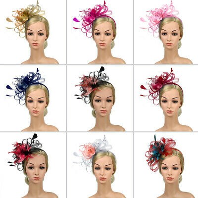 Feather Looped Headband Alice Band Fascinator Ladies Wedding Royal Ascot Strict