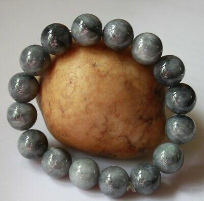Certified Natural Grade A Beautiful Untreated Black Jadeite JADE Bracelet #588