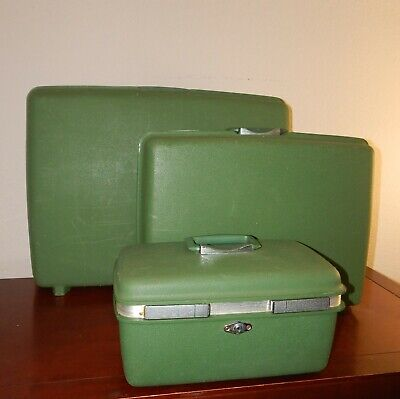 Samsonite Vintage Lot Of 3 Retro Hard Case Suitcase Luggage Set Avocado Green