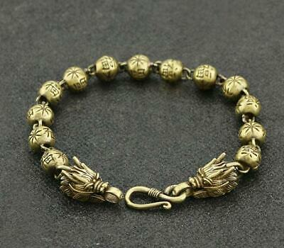 Exquisite Old China Pure Brass Handwork dragon statue collectable bracelet /Va02