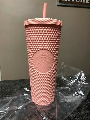 Starbucks Spring Collection 2020 Matte Pink Studded Tumbler Cup 24oz New in Bag
