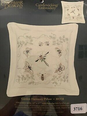 Candamar Designs Garden Harmony Pillow 80358 Candlewicking Embroidery Dragonfly