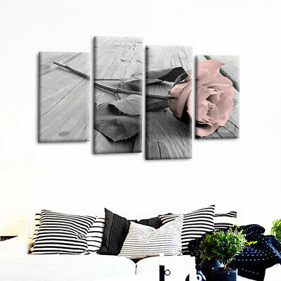 Frameless Canvas Rose Floral Picture Pink Grey White Flower Love Wall Home Decor