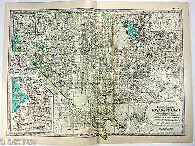 Nevada & Utah - Original 1902 Map by The Century Company. Antique