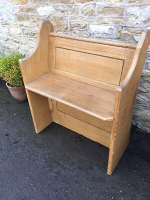 Antique pine Single Church pew Chapel compact porch boot room
