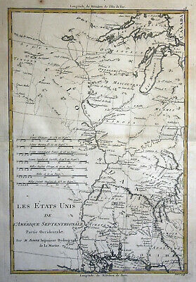 1780 United States West coast map America Louisiana handcolored Rigobert Bonne