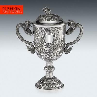 ANTIQUE 19thC CHINESE EXPORT SILVER TWO-HANDLE CUP & COVER, LEE CHING c.1860