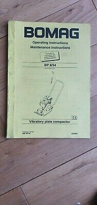 Bomag BP 8/34 Vibratory Plate Compactor Operating and Maintenance Instructions