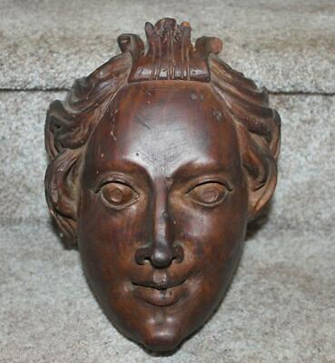 Antique Carved Italian Wooden Saint Head 18th C Religious Carving 10""