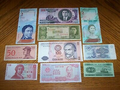 Lot of 10 Different World Bank Notes from Different Countries C2a