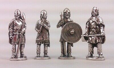 Four Viking Warrior Figures in Fine Pewter