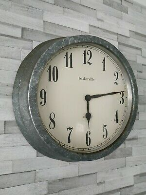 Vintage Industrial Factory Tin Metal Wall Clock