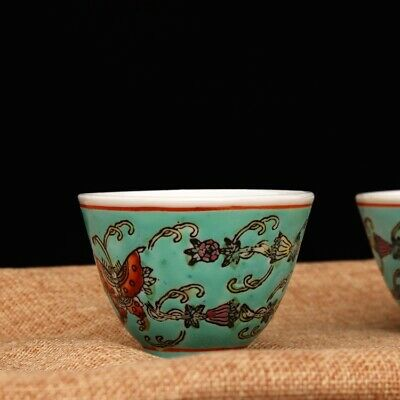 Collectable China Old Famille Rose Porcelain HandPaint Delicate Butterfly Teacup